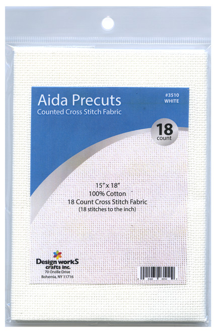 """Design Works - Gold Quality White 18 Count Aida Fabric 15"""" x 18"""""""