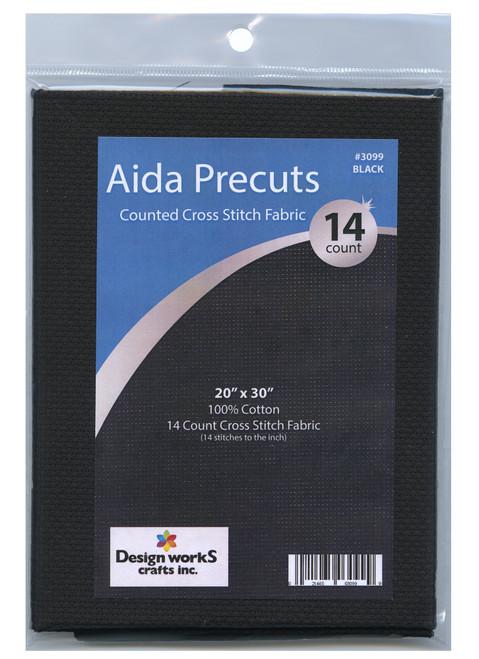 "Design Works - Gold Quality Black 14 Count Aida Fabric 20"" x 30"""
