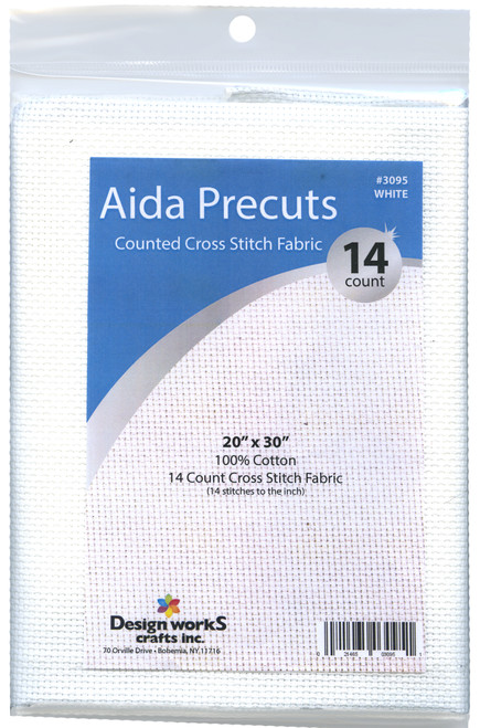 """Design Works - Gold Quality White 14 Count Aida Fabric 20"""" x 30"""""""