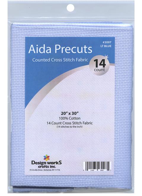 "Design Works - Gold Quality Light Blue 14 Count Aida Fabric 20"" x 30"""