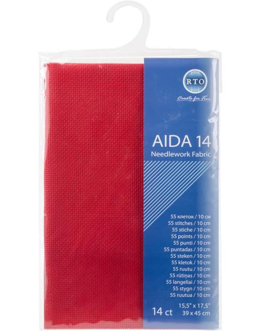 "RTO - Red 14 Count Aida Fabric 15.5"" x 17.5"""