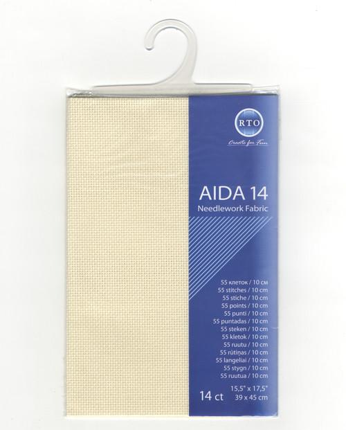 "RTO - Dark Ecru 14 Count Aida Fabric 15.5"" x 17.5"""