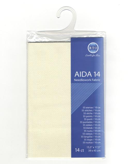 "RTO - Light Ecru 14 Count Aida Fabric 15.5"" x 17.5"""