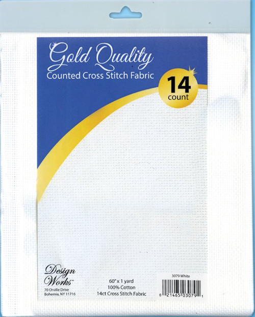 """Design Works - Gold Quality White 14 Count Aida Fabric 60"""" x 36"""""""