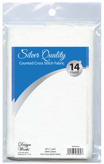"""Design Works - Silver Quality White 14 Count Aida Fabric 60"""" x 36"""""""