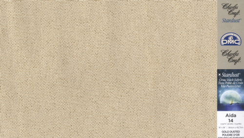"Charles Craft Stardust Fabric - Gold Dusted 14 Count Aida 15"" x 18"""