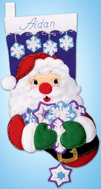 Design Works - Snowflake Santa Felt Stocking