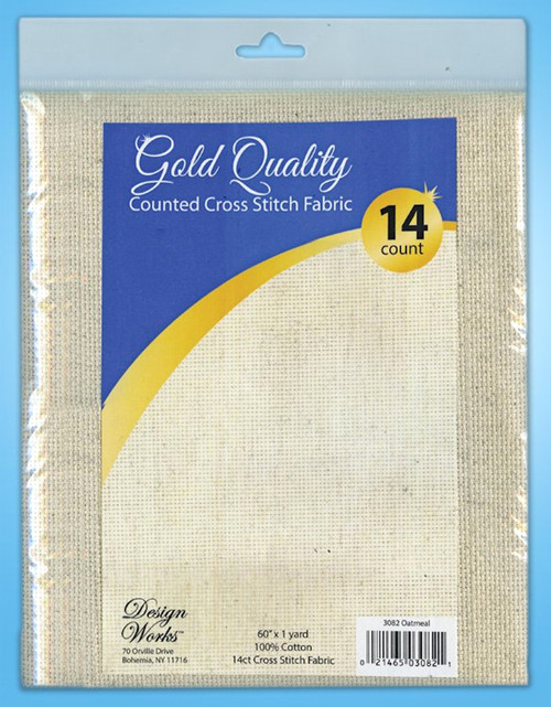 """Design Works - Gold Quality Oatmeal 14 Count Aida Fabric 60"""" x 36"""""""