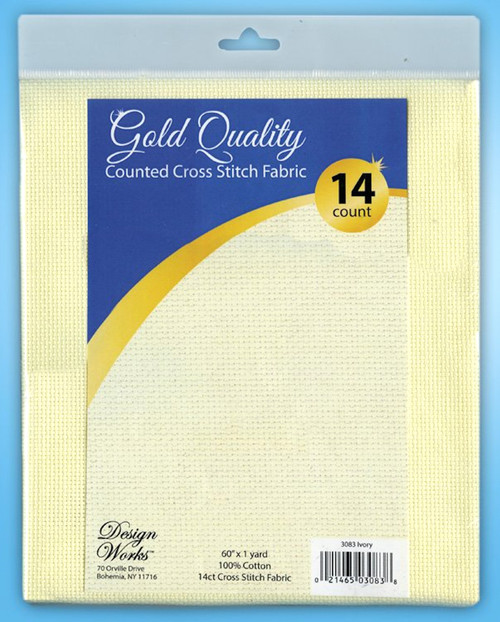 """Design Works - Gold Quality Ivory 14 Count Aida Fabric 60"""" x 36"""""""