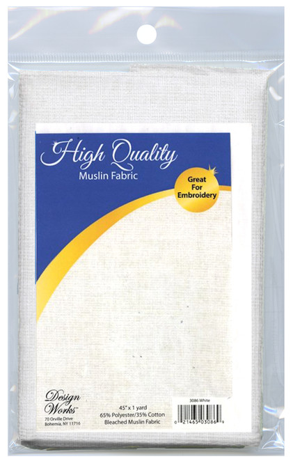 """Design Works - High Quality White Bleached Muslin Fabric 45"""" x 36"""""""