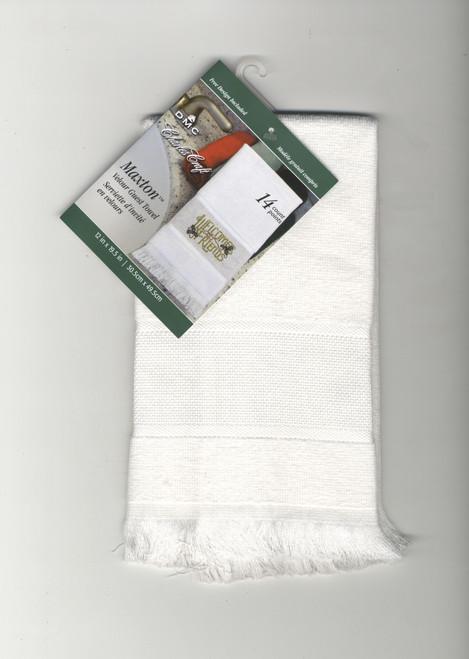 DMC Maxton Velour White Guest Towel with 14 Count Aida Border
