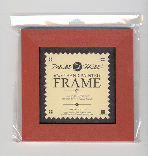 """Mill Hill - 6"""" x 6"""" Holiday Red Hand Painted Frame"""