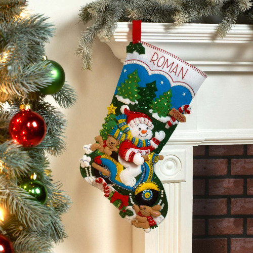 Plaid / Bucilla - Snowman on Scooter Christmas Stocking