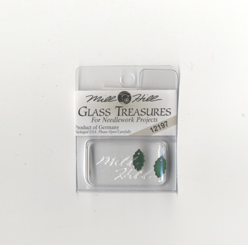 Mill Hill Glass Treasures - Medium Holly Leaf Matte Dark Emerald #12197