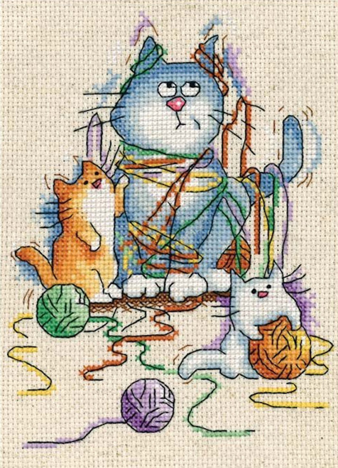 """Design Works BIRDCAGE KITTY Counted Cross Stitch Kit 5/"""" x 7/"""""""
