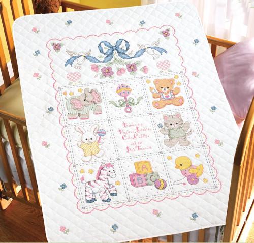 Plaid / Bucilla - Babies Are Precious Crib Cover