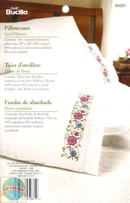 Plaid / Bucilla - Swirl Flowers Pillowcases (2)
