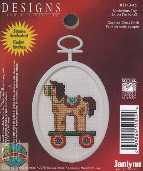 """Christmas Toy Mini Counted Cross Stitch Kit 2.75/"""" Oval 18 Count 029064143454"""