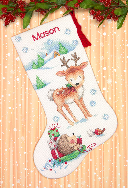 Disney Cross Stitch Christmas Stocking Patterns.Dimensions Reindeer Hedgehog Stocking