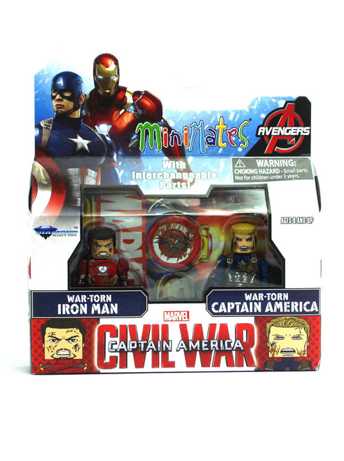 Marvel Minimates War-Torn Iron Man & War-Torn Captain America Captain America: Civil War TRU Series 2 2-Pack View 1