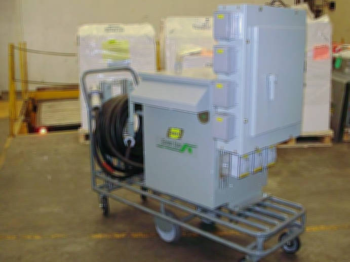 Beaver Electrical 75 kVA Transformer on a cart with distribution components