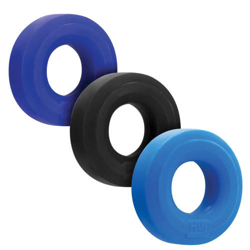 Hunkyjunk HUJ C-Ring 3 Pack - Thick & Stretchy Silicone TPR Blend Cock Ring Multipack