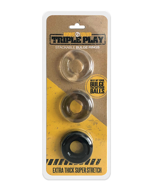 Boneyard Triple Play Cock Ring 3 Pack - Cocking Multipack Containing 3 Stretchy Donut C-Rings