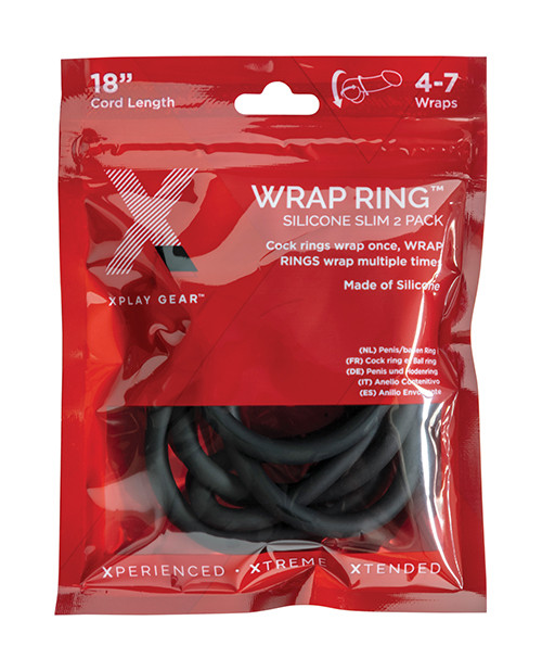 XPlay Gear Silicone 18.0 Silicone Slim Wrap in Black 2 Pack - Silicone Wrap Style Cock Ring 3 Pack