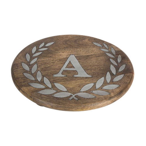 """Heritage Mango Wood with Metal Inlay Monogram 10""""  Trivet - A - GG Collection"""