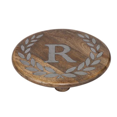 "Heritage Mango Wood with Metal Inlay Monogram 10""  Trivet - R"