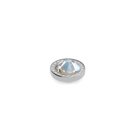 Moonlight 10.5mm Silver with Crystal Border Interchangeable Top by Qudo Jewelry