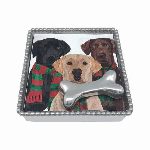 Dog Bone Beaded Napkin Box by Mariposa - Special Order