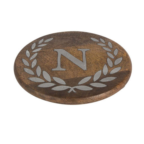 """Heritage Mango Wood with Metal Inlay Monogram 10""""  Trivet - N - GG Collection  -Special Order"""