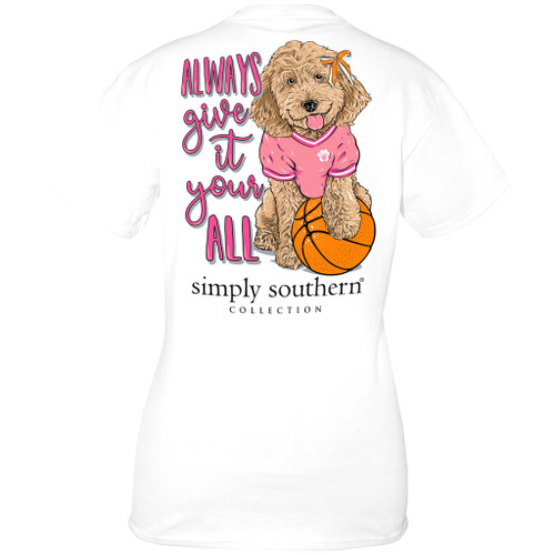 Small Basketball White  Short Sleeve Tee by Simply Southern