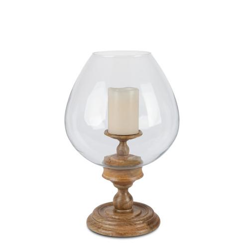 Mango Wood Large Round Globe Glass Pedestal Hurricane Candleholder - GG Collection