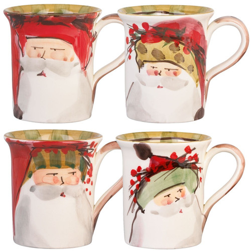 Vietri Old St. Nick Assorted Mugs - Set of 4 - Special Order