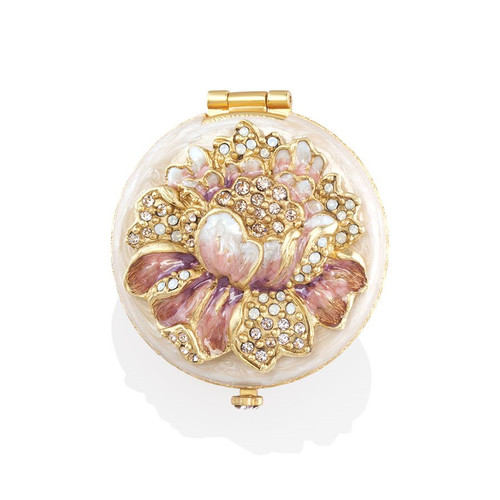 Jay Strongwater Angela Round Floral Compact - Special Order