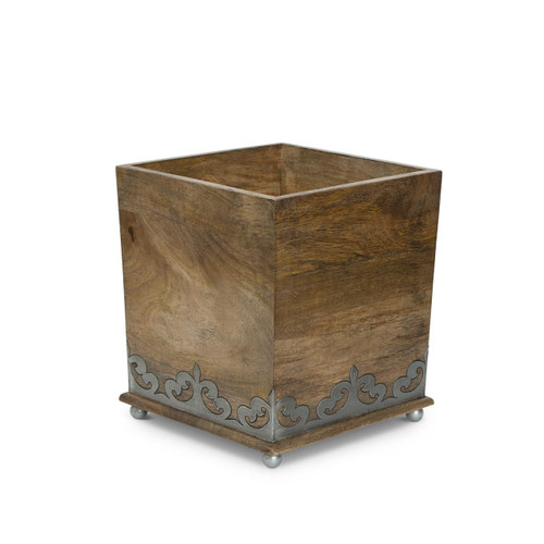 Wood and Metal Wastebasket - GG Collection
