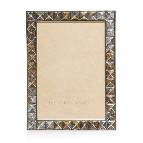 Jay Strongwater Mosaic Pyramid 5 x 7 Frame in Mixed Metal - Special Order