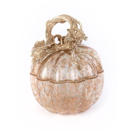 Jay Strongwater Hadley Leaf & Vine Gilded  Glass Jar - Special Order