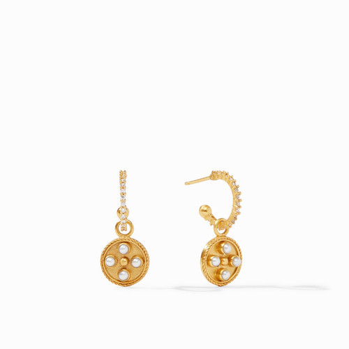 Julie Vos Paris Hoop & Charm Earrings - Gold Pearl
