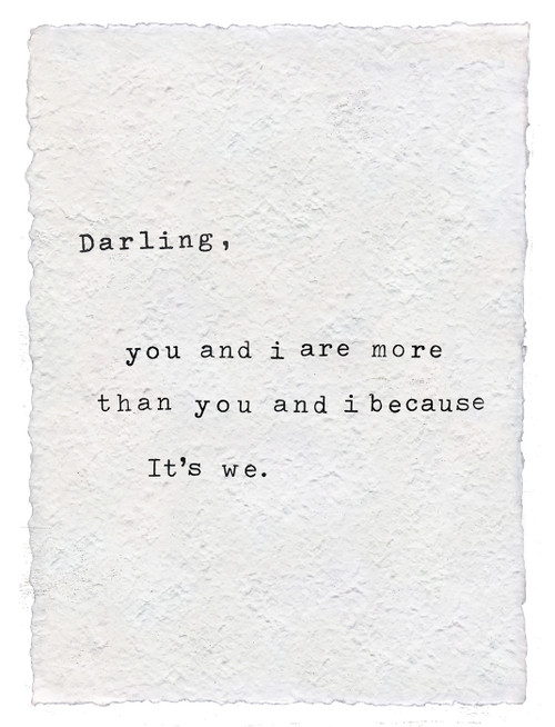 Darling You And I Handmade Paper Print by Sugarboo Designs - Special Order