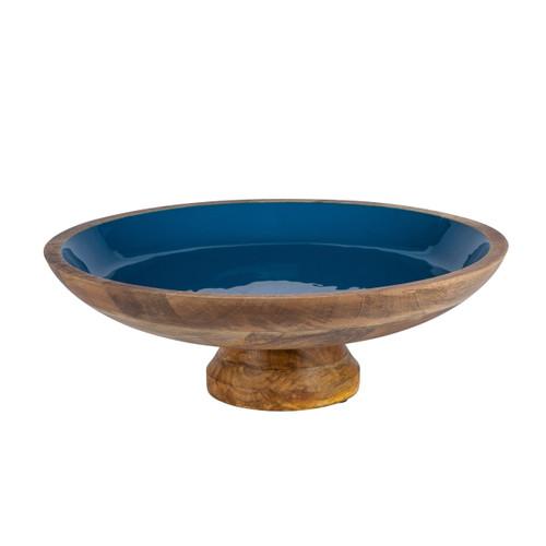 Deep Blue Enamel Mango Wood Pedestal Bowl - GG Collection
