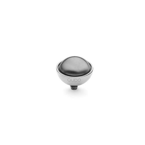 Dark Grey Pearl 11.5mm Silver Interchangeable Top by Qudo Jewelry