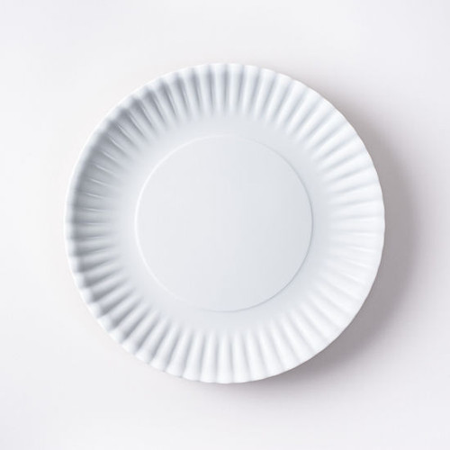 """White """"Paper Plate Look"""" Melamine 9"""" Plate by One Hundred 80 Degrees - Set of 4"""