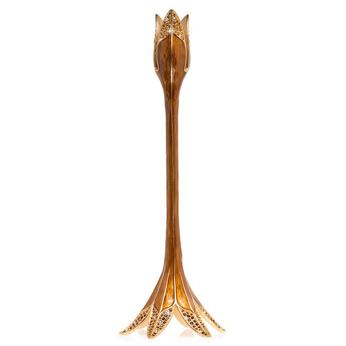 Jay Strongwater Ambrosius Tulip Tall Candle Stick Holder in Topaz - Special Order