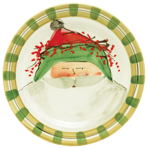 Vietri Old St. Nick Dinner Plate - Green - Special Order