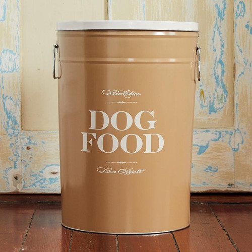 Large  Taupe Bon Chien Dog Food Storage Canisterby Harry Barker - Special Order