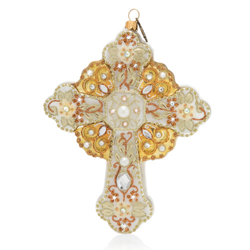 Jay Strongwater Cross Glass Ornament