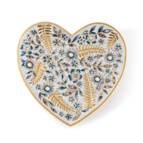 Jay Strongwater Aria Floral Heart Trinket Tray - Special Order 1